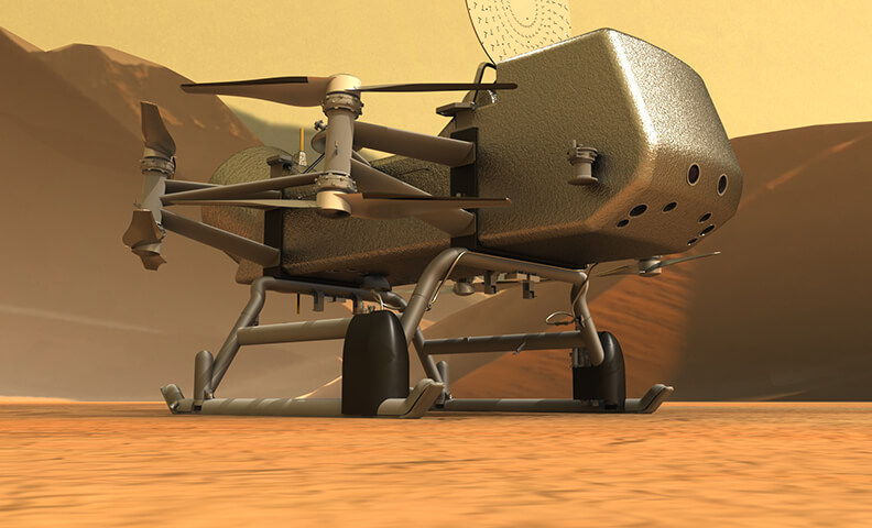 Artist's rendition of the Dragonfly rotorcraft on the surface of Saturn's moon Titan.