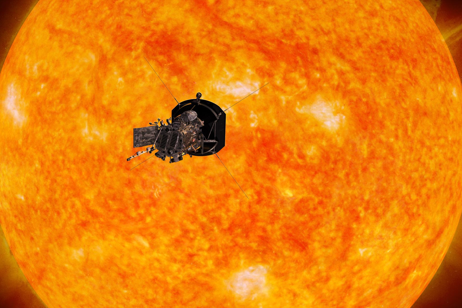Artist's rendering of Parker Solar Probe passing in front of Sun