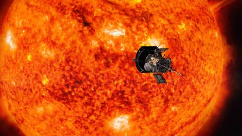 Artist rendering of Parker Solar Probe passing in front of the Sun