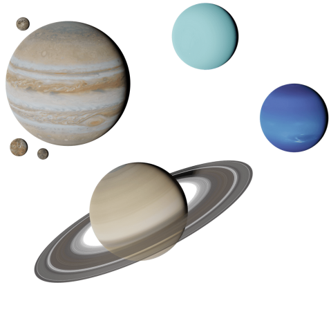 Graphic of Giant Planets