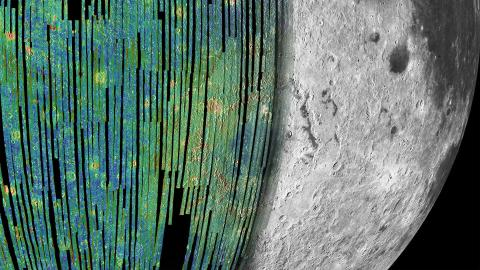 Close-up image of Moon's surface with a colored radar overlay