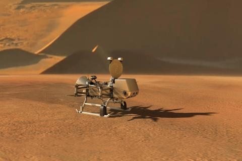 Image of Dragonfly on the surface of Saturn's moon TItan