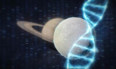 Illustration of Enceladus and DNA helix