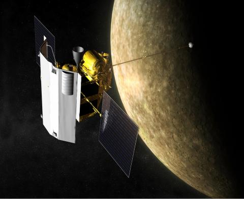 Illustration of MESSENGER spacecraft orbiting a partially sunlit Mercury