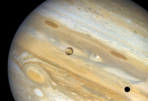 Image of Io crossing in front of Jupiter