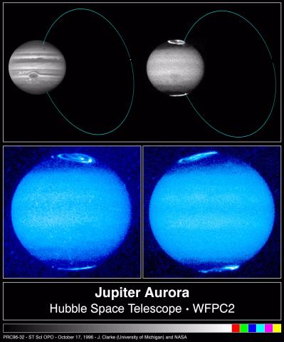 Collage of Jupiter images in visible and ultraviolet light, showing link between Io and Jupiter