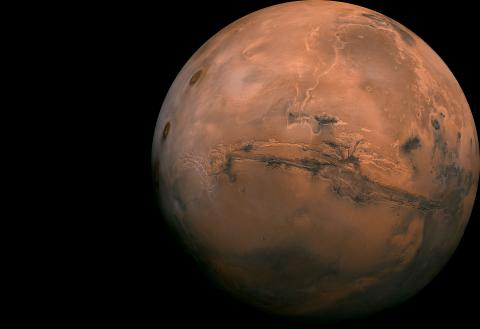 High-resolution mosaic image of Mars, entire planet
