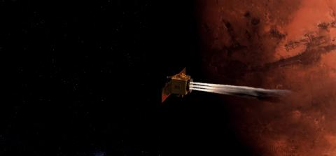 Artist's impression of a spacecraft crossing in front of shadowed Mars