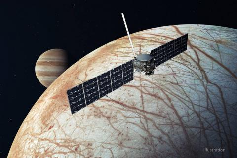 Illustration of Europa Clipper with Europa and Jupiter in background