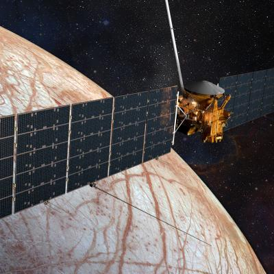 Rendering of the Europa Clipper spacecraft nearing Europa