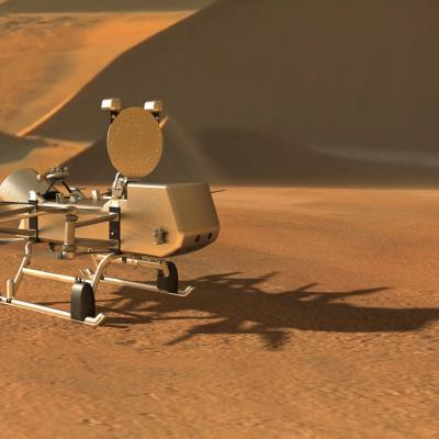 Artist's rendering of Dragonfly on the surface of Titan.