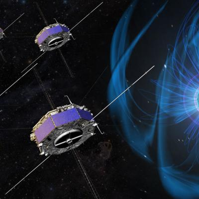 Artist depiction of four MMS spacecraft in space around Earth with its magnetosphere shown