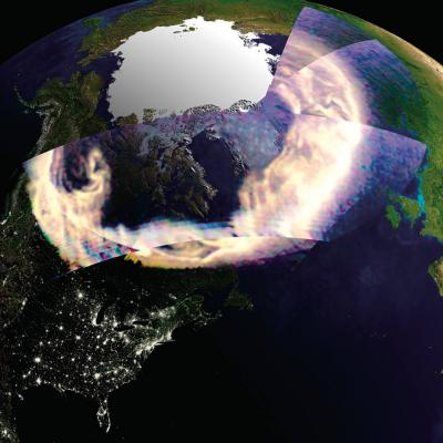 Composite of the aurora, as seen by GUVI, superimposed over an image of Earth