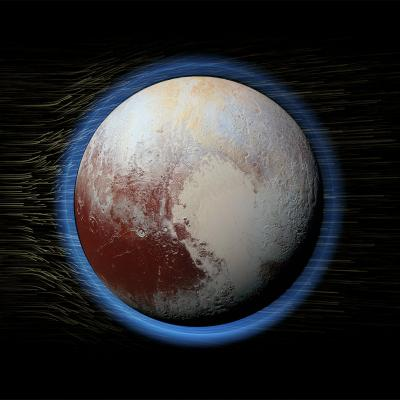 Rendering of Pluto and the solar wind particles blowing over it