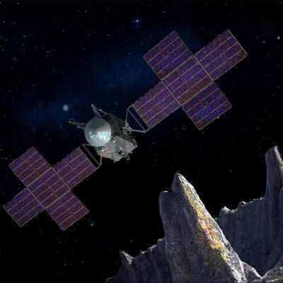 Rendering of the Psyche spacecraft observing asteroid Psyche