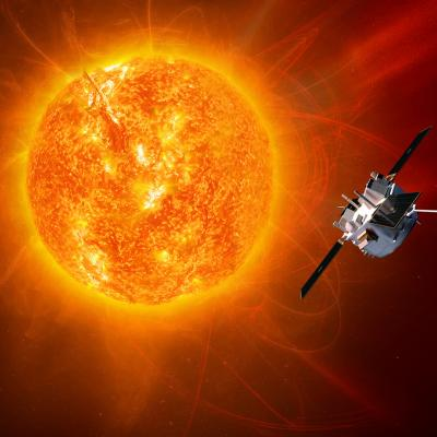 ACE spacecraft with ULEIS instrument in space around Sun