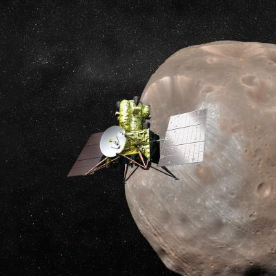 Rendering of the MMX spacecraft approaching the Martian moon Phobos